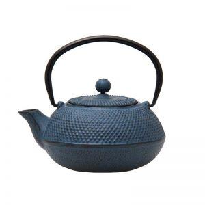 600ml blue cast iron teapot 021750