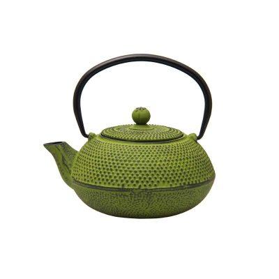 600ml lime green cast iron teapot 021750