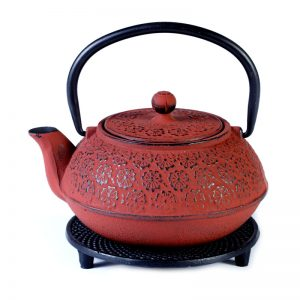 Cast iron pot red on stand 800ml
