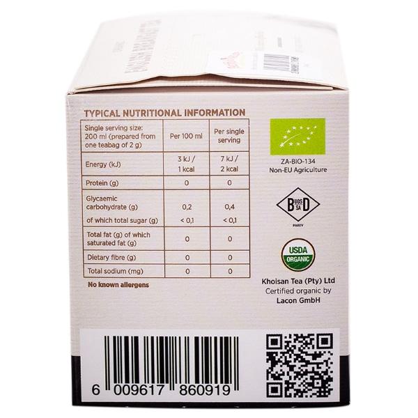 Khoisan Earl Grey Box nutritional information