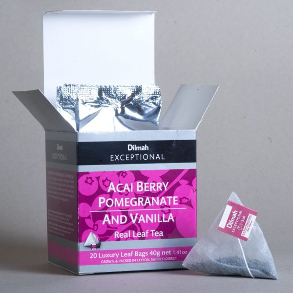 dilmah exceptional acai berry pomegranate open Box