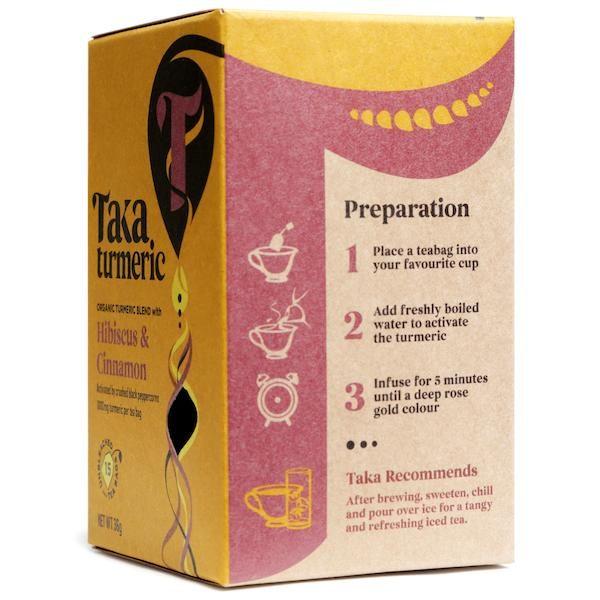 Taka Turmeric Tea Hibiscus Cinnamon side box