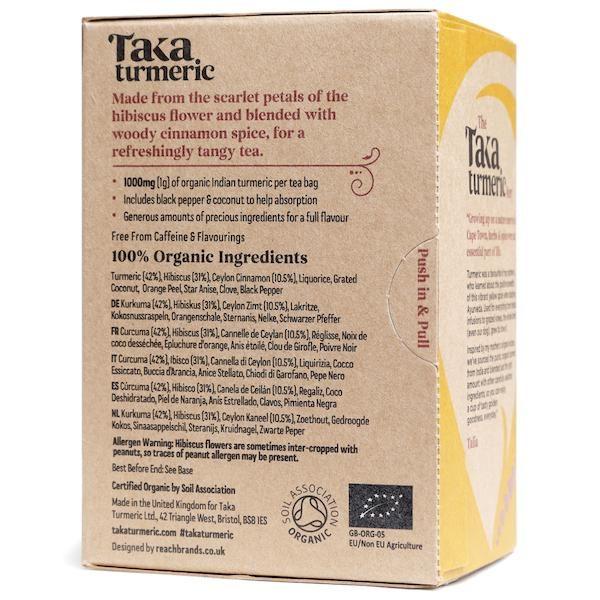 Taka Turmeric Tea Hibiscus Cinnamon back of box